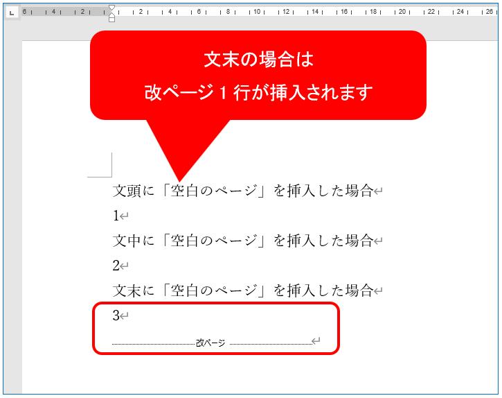 文末の場合は改ページ1行が挿入されます