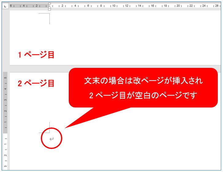 文末の場合は改ページが挿入され2ページ目が空白のページです