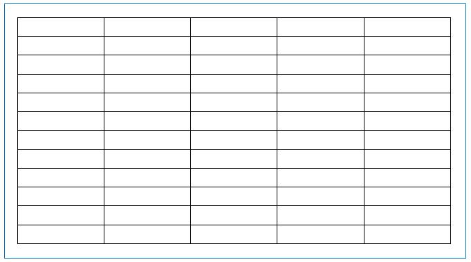 5列12行表(イメージ画像)